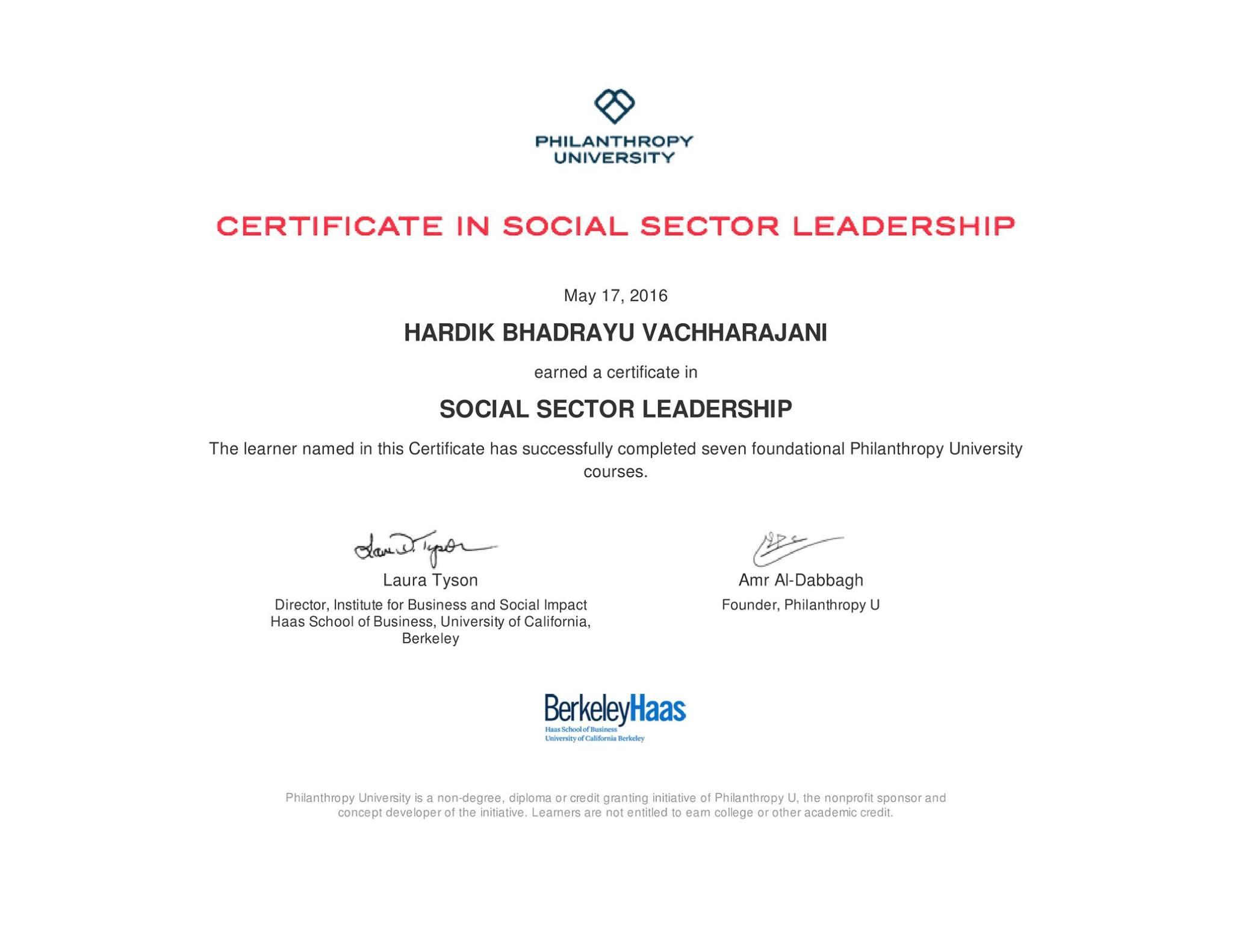 Certificate In Social Sector Leadership From Berkeley Hass Dr
